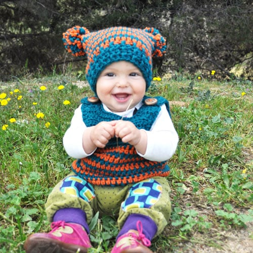 Patrón Gorro Crochet pompon bebé