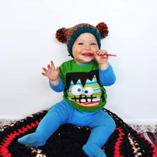 Patrón Gorro Crochet con pompones