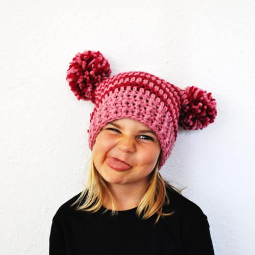 The Square Crochet Hat with Pompoms