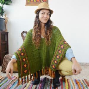 patron crochet poncho boho paso a paso
