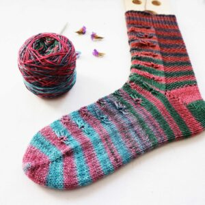 Cornflower Knitting Sock pattern with short rows by Cecilia Losada