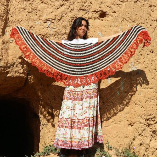 patrón crochet chal medialuna