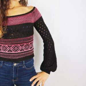Mailen Crop Sweater con agujas circulares
