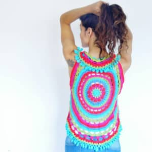 chaleco circular mandala en crochet