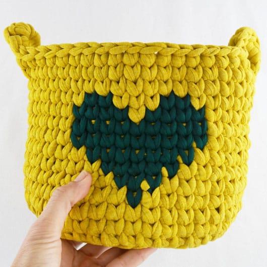 patron crochet cesto de trapillo para principiantes
