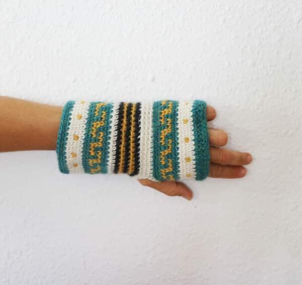 tapestry crochet mitones sin dedos