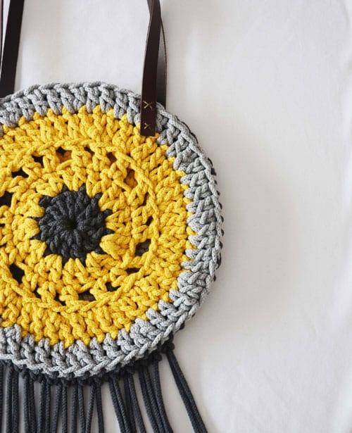 bolso crochet con asas y cremallera